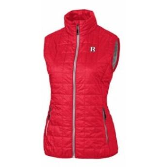 Cutter & Buck カッター アンド バック スポーツ用品  Cutter & Buck Rutgers Scarlet Knights Womens Red Rainier Full-Zip Puffer Vest