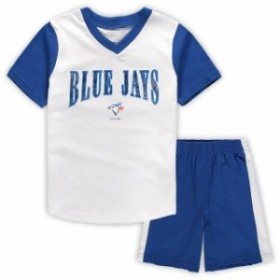 Outerstuff アウタースタッフ スポーツ用品  Toronto Blue Jays Preschool White/Royal Little Hitter V-Neck T-Shirt & Shorts Set
