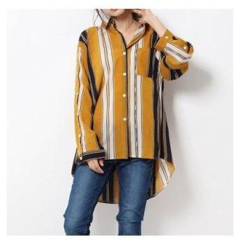 フェルトマリエッタ Felt Maglietta マルチストライプスタンドカラシャツ (ブラウン×ネイビー(襟付き))