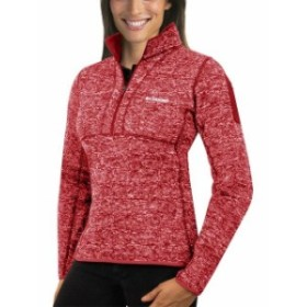 Antigua アンティグア スポーツ用品  Antigua Womens Heather Red Richmond Raceway Fortune Half-Zip Pullover Jacket