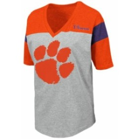 Colosseum コロセウム スポーツ用品  Colosseum Clemson Tigers Womens Heathered Gray Genoa Color Blocked V-Neck T-Shirt