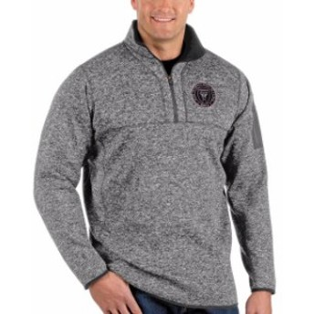 Antigua アンティグア アウターウェア ジャケット/アウター Antigua Inter Miami CF Heather Gray Big & Tall Fortune Quarter-Zip Pullo