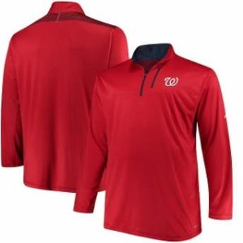 Majestic マジェスティック アウターウェア ジャケット/アウター Majestic Washington Nationals Red Big & Tall 643 Half-Zip Pullover