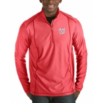 Antigua アンティグア アウターウェア ジャケット/アウター Antigua Washington Nationals Heathered Red Tempo Half-Zip Pullover Jacke