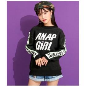 アナップガール ラインロゴニットトップス レディース ブラック S 【ANAP GiRL】