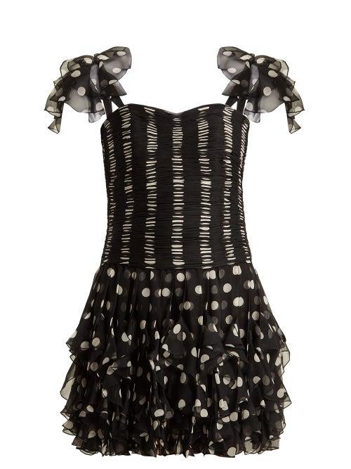 Valentino - Polka Dot Silk Dress - Womens - Black White