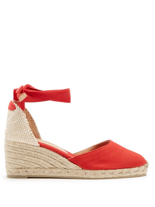 Castañer - Carina 60 Canvas And Jute Espadrille Wedges - Womens - Red