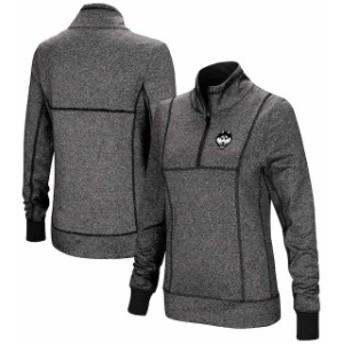 Colosseum コロセウム スポーツ用品  Colosseum UConn Huskies Womens Charcoal Herringbone Print Quarter-Zip Pullover Jacket