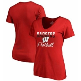 Fanatics Branded ファナティクス ブランド スポーツ用品  Fanatics Branded Wisconsin Badgers Womens Red Free Line V-Neck T-Shirt