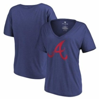 Let Loose by RNL レット ルーズ スポーツ用品  Let Loose by RNL Atlanta Braves Womens Navy Distressed Primary Logo T-Shirt