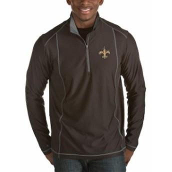 Antigua アンティグア アウターウェア ジャケット/アウター Antigua New Orleans Saints Heather Black Tempo Half-Zip Pullover Jacket