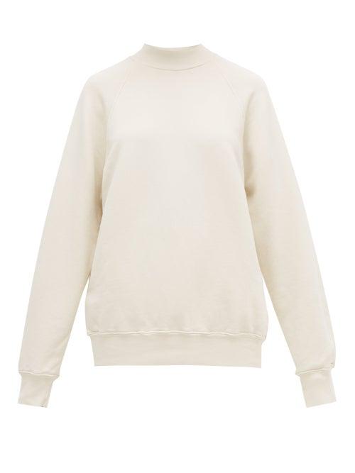 Les Tien - High-neck Brushed-back Cotton Sweatshirt - Womens - Ivory
