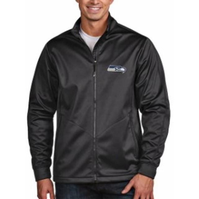 Antigua アンティグア アウターウェア ジャケット/アウター Antigua Seattle Seahawks Charcoal Golf Full-Zip Jacket