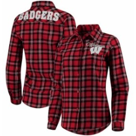 Forever Collectibles フォーエバー コレクティブル スポーツ用品  Wisconsin Badgers Womens Red Wordmark Button-Up Flannel Shirt