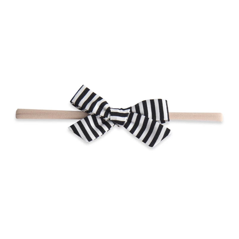 美國baby bling - 蝴蝶結髮飾/髮夾_細髮帶-黑白條紋 (0-5歲適用)