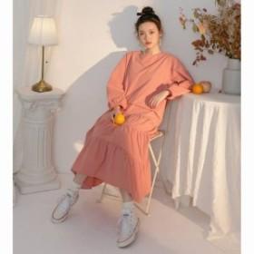 即納 大きいサイズ ロングワンピース ゆったり ロングワンピース 新作 春服 ティアードロングワンピース 長袖 おしゃれ ファッション