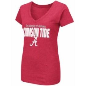 Colosseum コロセウム スポーツ用品  Colosseum Alabama Crimson Tide Womens Crimson Mascot Bold V-Neck T-Shirt