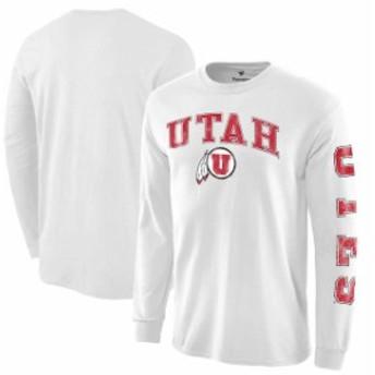 Fanatics Branded ファナティクス ブランド スポーツ用品  Utah Utes White Distressed Arch Over Logo Long Sleeve Hit T-Shirt