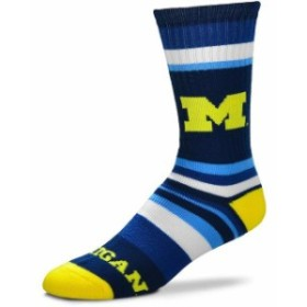 For Bare Feet フォー ベア フィート スポーツ用品  For Bare Feet Michigan Wolverines Rainbow Stripe Tri-Blend Crew Socks