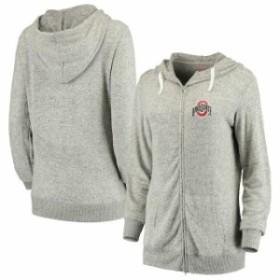 Scarlet & Grey スカーレット アンド グレイ スポーツ用品  Ohio State Buckeyes Womens Heathered Gray Off Duty Cozy Tri-Blend Full-Z