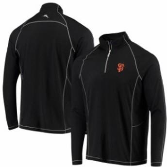 Tommy Bahama トミー バハマ アウターウェア ジャケット/アウター Tommy Bahama San Francisco Giants Black Goal Keeper Half-Zip Pullo