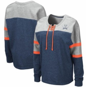 Colosseum コロセウム スポーツ用品  Colosseum Virginia Cavaliers Womens Navy Manolo Lace-Up French Terry Pullover Sweatshirt