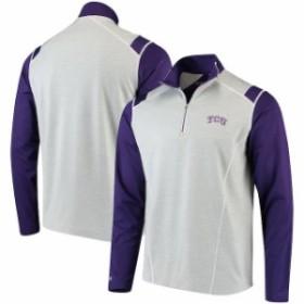 Antigua アンティグア スポーツ用品  Antigua TCU Horned Frogs Heathered Gray/Purple Automatic Quarter-Zip Pullover