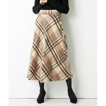 シャギーチェック素材がかわいい!ロングフレアスカート (ひざ丈スカート)Skirts