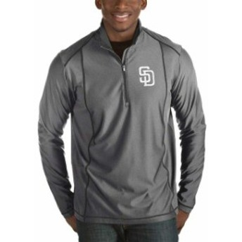 Antigua アンティグア アウターウェア ジャケット/アウター Antigua San Diego Padres Heather Gray Tempo Big & Tall Half-Zip Pullover