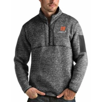 Antigua アンティグア スポーツ用品  Martin Truex Jr Antigua Fortune Quarter-Zip Pullover Jacket - Charcoal/Heather Gray