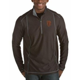Antigua アンティグア アウターウェア ジャケット/アウター Antigua San Francisco Giants Heathered Black Tempo Half-Zip Pullover Jac