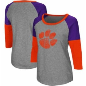 Colosseum コロセウム スポーツ用品  Colosseum Clemson Tigers Womens Gray/Orange P-Bars Three-Quarter Sleeve Raglan T-Shirt