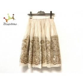 ヒロコビス HIROKO BIS スカート サイズ9 M レディース 美品 アイボリー×ブラウン×ベージュ 新着 20191017