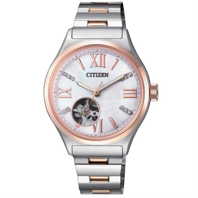 CITIZEN星辰錶 PC1009-51D LADY玫瑰金開芯時尚機械錶/34mm