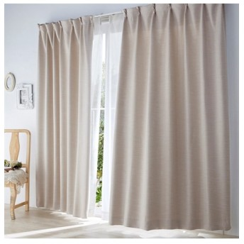 【送料無料!】無地調ストライプ柄ドビー織遮光。防炎カーテン&昼間見えにくい。UVカットレースセット カーテン&レースセット, Curtains, sheer curtains, net curtains(ニッセン、nissen)
