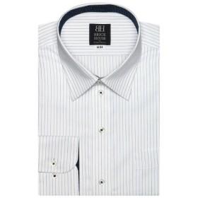 [マルイ] 形態安定 ノーアイロン 長袖ワイシャツ レギュラー 白×ネイビーストライプ 標準体/ブリックハウス(BRICKHOUSE)