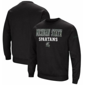 Colosseum コロセウム スポーツ用品  Colosseum Michigan State Spartans Black Stacked Performance Pullover Sweatshirt