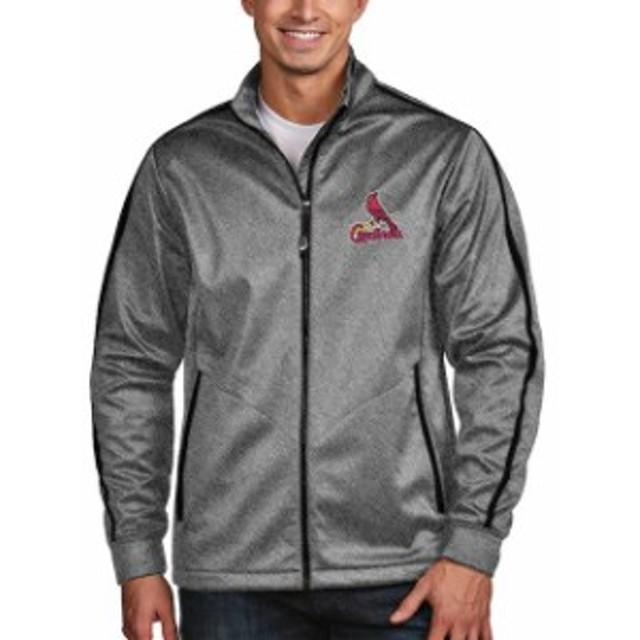 Antigua アンティグア アウターウェア ジャケット/アウター Antigua St. Louis Cardinals Heather Black Golf Full-Zip Jacket