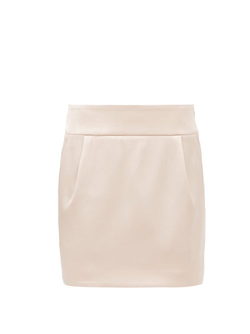 Alexandre Vauthier - Satin Mini Skirt - Womens - Light Pink