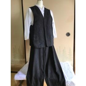 正絹着物生地で作ったベストとズボンのセット