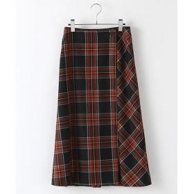 INGEBORG / インゲボルグ オリジナルチェックウールラップ風スカート