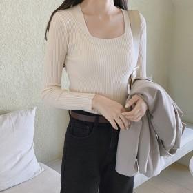【GOGOSING】スクエアもっちりリブTシャツ★ニット 編みニット レディーストップス 長袖 無地 スタンダードフィット 韓国 ファッション p000dcuh