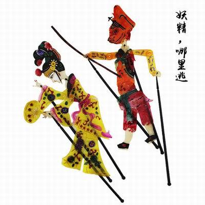 【動感皮影-24款(2人/套)-高31cm-多款可選-1套/組】特色工藝品皮影裝飾畫送朋禮品帶杆可操作-36006