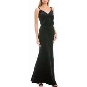 カルバンクライン レディース ワンピース トップス Sparkle Velvet Sleeveless V-Neck Blouson Gown Black/Emerald