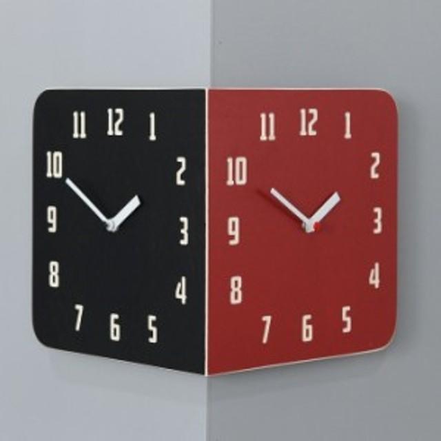 Morden Retro Round Corner Clock (Black&Red) コーナー両面時計 ハンドメード 木製両面壁掛け時計