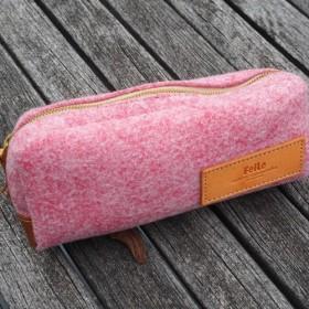 再生フェルト×国産本革 ペンケース/ポーチ FelLe(フェルレ)・Rectangle ピンク