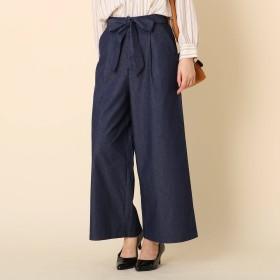 Couture Brooch(クチュールブローチ)/【WEB限定サイズ(LL)あり/手洗い可】リボンベルト デニムワイドパンツ