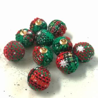 クリスマス カラー ファーボール チャーム 10個入り パーツ 材料 イヤリング ピアス パーツ