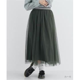 (merlot/メルロー)チュールウエストラインスカート771-3527/レディース カーキ