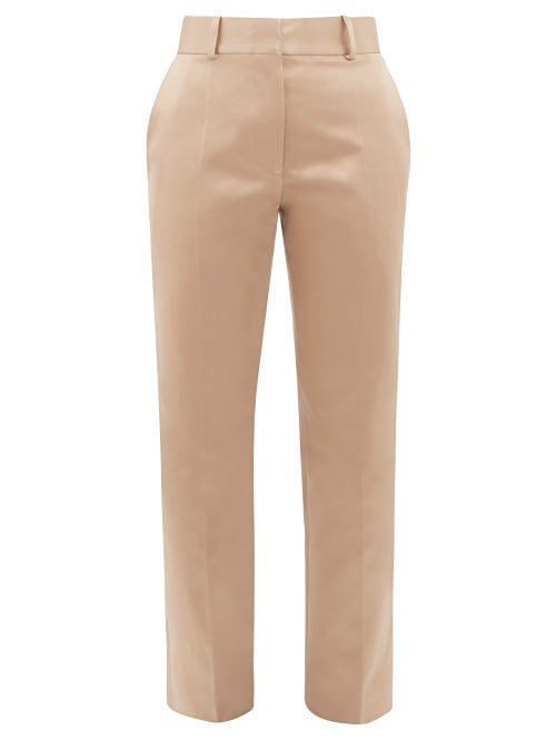 Haider Ackermann - Taroni Tailored Silk-satin Trousers - Womens - Cream